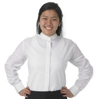 Henry Segal Women's Customizable White Long Sleeve Band Collar Dress Shirt - Size 2XL