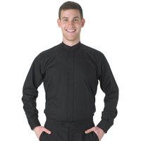 Henry Segal Men's Customizable Black Long Sleeve Band Collar Dress Shirt - XS