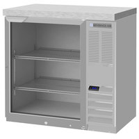 Beverage-Air BB36HC-1-FG-S-27 36 inch Black Counter Height Glass Door Food Rated Back Bar Refrigerator