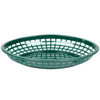 Tablecraft C1084FG Forest Green Jumbo Oval Polypropylene Fast Food Basket - 12/Pack