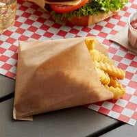 Carnival King 3 1/2 inch x 4 1/2 inch Small Kraft French Fry Bag - 1000/Case