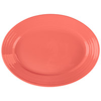 Tuxton CNH-1352 Concentrix 13 1/2 inch x 9 3/4 inch Cinnebar Oval China Coupe Platter - 6/Case