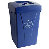 Carlisle 35 Gallon Blue Square Recycle Bin Kit with Paper Slot Lid
