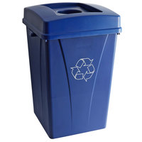 Carlisle 35 Gallon Blue Square Recycle Bin Kit with Bottle / Can Hole Lid