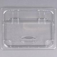 Cambro 20CWLN135 Camwear 1/2 Size Clear Polycarbonate FlipLid with Spoon Notch