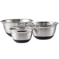 Choice Stainless Steel Mixing Bowls with Silicone Non-Slip Bases   - 3/Set