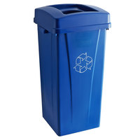 Carlisle 23 Gallon Blue Square Recycle Bin Kit with Bottle / Can Hole Lid