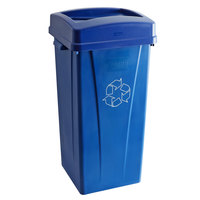 Carlisle 23 Gallon Blue Square Recycle Bin Kit with Paper Slot Lid