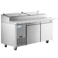 Avantco SSPPT-2 67 inch 2 Door Refrigerated Pizza Prep Table