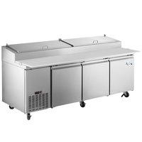 Avantco SSPPT-3 93 inch 3 Door Refrigerated Pizza Prep Table
