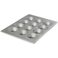 Carlisle 601834 Glazed Aluminized Steel 12 Cup 3.25 oz. Cupcake Pan - 12 7/8 inch x 17 3/4 inch