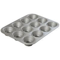 Carlisle 601830 Glazed Aluminized Steel 12 Cup 2.75 oz. Heavy-Duty Cupcake Pan - 10 5/8 inch x 14 inch