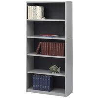 Safco 7173GR ValueMate 5-Shelf Gray Steel and Fiberboard Bookcase - 31 3/4 inch x 13 1/2 inch x 67 inch