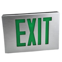 Lavex Industrial Thin Single Face Aluminum/Black LED Exit Sign with Green Lettering and Battery Backup