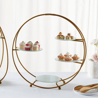American Metalcraft SRG4 4 Tier Gold Round Stand with Frosted Glass Plates