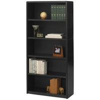 Safco 7173BL ValueMate 5-Shelf Black Steel and Fiberboard Bookcase - 31 3/4 inch x 13 1/2 inch x 67 inch