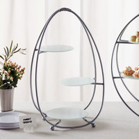 American Metalcraft SRS3 3 Tier Silver Oval Stand with Frosted Glass Plates