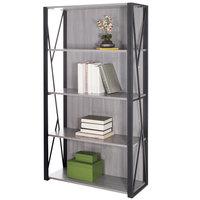 Safco 1903GR Mood 4-Shelf Gray Powder Coated Steel Bookcase - 31 3/4 inch x 12 inch x 59 inch