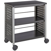 Safco 1604BL Scoot 2-Shelf Black Perforated Steel Bookcase with Wheels - 25 inch x 15 1/2 inch x 27 inch