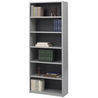 Safco 7174GR ValueMate 6-Shelf Gray Steel and Fiberboard Bookcase - 31 3/4 inch x 13 1/2 inch x 80 inch