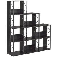 Safco 1003BB SOHO Multi-Height 9-Shelf Black Textured Laminate Bookcase - 50 inch x 14 inch x 57 3/4 inch