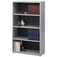 Safco 7172GR ValueMate 4-Shelf Gray Steel and Fiberboard Bookcase - 31 3/4 inch x 13 1/2 inch x 54 inch