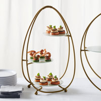 American Metalcraft SRG3 3 Tier Gold Oval Stand with Frosted Glass Plates
