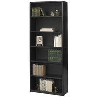 Safco 7174BL ValueMate 6-Shelf Black Steel and Fiberboard Bookcase - 31 3/4 inch x 13 1/2 inch x 80 inch
