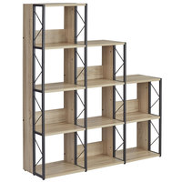 Safco 1003BN SOHO Multi-Height 9-Shelf Natural Textured Laminate Bookcase - 50 inch x 14 inch x 57 3/4 inch