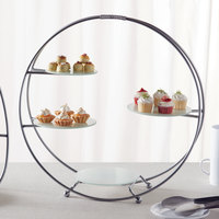 American Metalcraft SRS4 4 Tier Silver Round Stand with Frosted Glass Plates