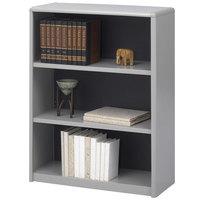 Safco 7171GR ValueMate 3-Shelf Gray Steel and Fiberboard Bookcase - 31 3/4 inch x 13 1/2 inch x 41 inch