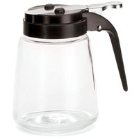 Tablecraft 1371BK 12 oz. Glass Modern Syrup Dispenser with Black ABS Top - 12/Pack