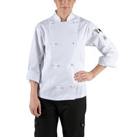 Chef Revival LJ028-M Knife and Steel Size 8 (M) White Customizable Ladies Long Sleeve Chef Jacket - Poly-Cotton Blend with Cloth Knot Buttons