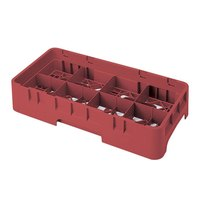 Cambro 8HS800416 Cranberry Camrack Customizable 8 Compartment Half Size 8 1/2 inch Glass Rack