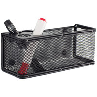 Safco 3612BL Onyx 8 inch x 3 1/4 inch x 3 inch Black Metal Mesh Marker Organizer with Magnetic Back