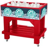 IRP Red Texas Icer Jr. 2020 Insulated Ice Bin / Merchandiser with Shelf and Drain 36 inch x 24 inch 88 Qt.