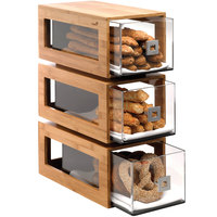 Rosseto BD104 3-Tier Natural Bamboo Bakery Pastry Display with Acrylic Drawers - 10 inch x 17 1/2 inch x 24 inch