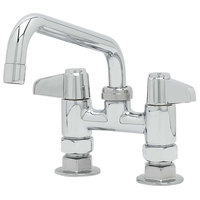 Equip by T&S 5F-4DLS08A Deck Mounted Faucet with 4 inch Centers, 8 1/8 inch Swing Spout, 2.2 GPM Aerator, and Lever Handles