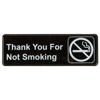 Thank You For Not Smoking Sign - Black and White, 9 inch x 3 inch