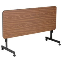 Correll EconoLine FT2460M 24 inch x 60 inch Walnut Melamine Top Mobile Flip Top Adjustable Height Table