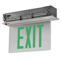 Lavex Industrial Double Face Aluminum / Mirror Recessed LED Exit Sign with Edge Lighting, Green Lettering, and Battery Backup