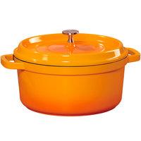 GET CA-012-O/BK Heiss 4.5 Qt. Orange Enamel Coated Cast Aluminum Round Dutch Oven with Lid
