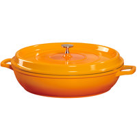 GET CA-005-O/BK Heiss 3 Qt. Orange Enamel Coated Cast Aluminum Round Brazier / Paella Dish with Lid
