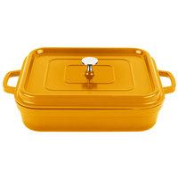 GET CA-010-O/BK Heiss 5 Qt. Orange Enamel Coated Cast Aluminum Roasting Pan with Lid