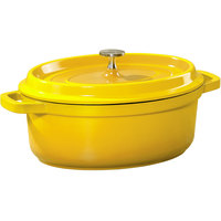 GET CA-009-Y/BK Heiss 3.5 Qt. Yellow Enamel Coated Cast Aluminum Oval Dutch Oven with Lid