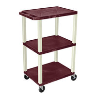 Luxor WT42BYE Burgundy Tuffy AV Cart - 3 Shelf, 24 inch x 18 inch x 42 inch
