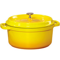 GET CA-012-Y/BK Heiss 4.5 Qt. Yellow Enamel Coated Cast Aluminum Round Dutch Oven with Lid