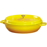 GET CA-008-Y/BK Heiss 4.5 Qt. Yellow Enamel Coated Cast Aluminum Round Brazier / Paella Dish with Lid