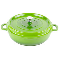 GET CA-005-G/BK Heiss 3 Qt. Green Enamel Coated Cast Aluminum Round Brazier / Paella Dish with Lid