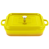 GET CA-010-Y/BK Heiss 5 Qt. Yellow Enamel Coated Cast Aluminum Roasting Pan with Lid